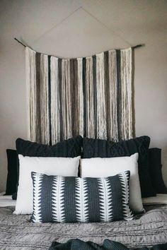 DIY Yarn Art | Earthy Boho Bedroom Makeover | Neutral Bedroom | Black, white, brown, gray bedroom | The Anastasia Co