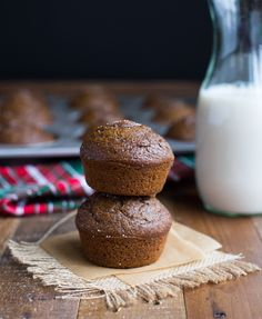 Pumpkin Gingerbread Muffins, made in a blender for an easy holiday brunch!