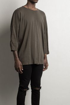 3/4 sleeve shirt by daniel patrick in Army, alternate image