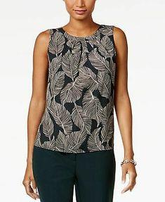 41cb3a3f8c KASPER $44 Womens New 1065 Green Printed Sleeveless Jewel Neck Top S  Petites BB #fashion