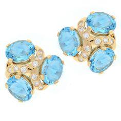Verdura Blue Topaz Diamond Gold Three Stone Earrings | 1stdibs.com