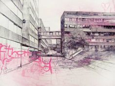 Laura Oldfield Ford, who recently exhibited in New Art Gallery Walsall (amazing gallery) produces detailed illustrations of the city combined with chalk and spray paint, which address urban culture in Briton. Council Estate, Tate Britain, A Level Art, Sense Of Place, Gcse Art, Built Environment, Environmental Art, Brutalist, Urban Landscape
