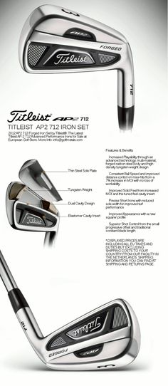 AP2 712 Iron Set 4-PW (7 Irons) by Titleist® in RH/LH with Regular or Stiff Dynamic Gold Steel Shafts by True Temper® (Made in USA). GolfMetals.com