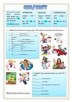 "it is an easy worksheet for children to practice speaking about abilities (can, can't) in a funny way. It consists of 15 questions. Students have to answer with simple "" I can"" or ""I can't"". Dare your students to prove if what they are saying is true. For example ask them to bark like a dog or do a push-up ;)  - ESL worksheets"