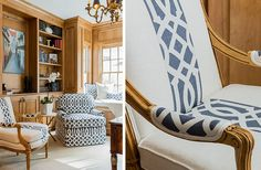 Reupholstery idea  - accent fabric down the middle of a neutral fabric.  Elizabeth Home Decor and Design Elizabeth Benedict Interior Designer Boston MA