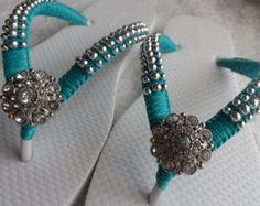 Bridal Beach White Flip Flops / Macrame Wedding by RossyAccesorios