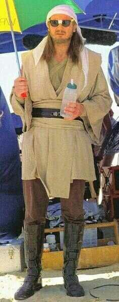 Qui-Gon Jinn taking a break from the scorching suns of Tatooine. In other words, Liam Neeson being Irish.