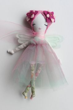 """Tiny Flower Fairy Doll - Miniature Cloth Doll about 6"""" tall  - Handmade Art Toy by Liberty Lavender Dolls"""