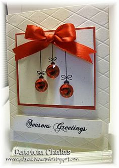 Mis Ideas & Creaciones by Patty Chalas: SP & CO November Stamps Release! - material list onlyChristmas ornament bling card - bjl by rubyChristmas ornament bling card - would be cute using jingle bellsI like the tiny ornaments paired with the big bow. Homemade Christmas Cards, Christmas Cards To Make, Christmas Greetings, Homemade Cards, Handmade Christmas, Holiday Cards, Christmas Diy, Christmas Ornaments, Red Ornaments