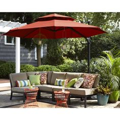 Shop Garden Treasures Red Offset Patio Umbrella (Common: 10.5-ft W x 10.5-ft L; Actual: 10.5-ft W x 10.5-ft L) at Lowes.com