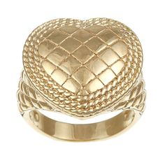 Sterling Essentials 14K Gold over Silver Quilted Heart Ring (Size 8 White Gold), Women's