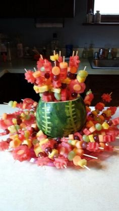 Baseball theme fruit tray