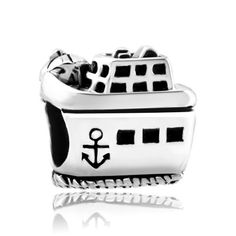 Charms Beads - cruise steamship on the beach retro small anchor fit all brands silver plated beads charms bracelets Image.