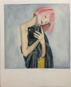 lithuanian girl with pink hair (polaroid)