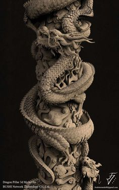 Art Station / Chinese Dragon Pillar - Sculpture - Print the sulpture yours. - Art Station / Chinese Dragon Pillar – Sculpture – Print the sulpture yourself - Zbrush, Japanese Dragon, Japanese Art, Dragon Rouge, Concept Art Landscape, Dragons, Chinese Dragon Tattoos, Chinese Dragon Drawing, Dragon Artwork