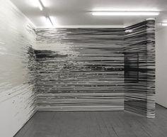 "from the ""Raumzeichnung (Drawings in Space)"" installation by Polish tape artistMonika Grzymala,  2011 #art"