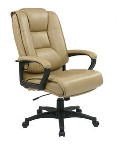 Avenue 6 Office Star Executive High Back Tan Glove Soft Leather Chair with Padded Loop Arms, Tan/Black