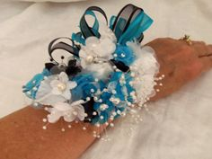 Wrist Corsages for Homecoming | Wrist Corsage Wedding- Prom- Homecoming Turquoise and Black Wrist-let