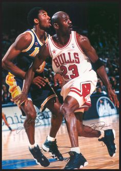 A great poster of NBA Basketball legends Michael Jordan and Kobe Bryant in one of their many classic match-ups! Check out the rest of our awesome selection of Michael Jordan posters! Need Poster Mounts. Basketball History, Basketball Tricks, Basketball Posters, Basketball News, Basketball Legends, Basketball Hoop, Rockets Basketball, Louisville Basketball, Basketball Equipment
