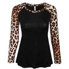 KOGMO Womens Leopard Print Raglan Long Sleeve Casual Tops T Shirt... ($15) ❤ liked on Polyvore featuring tops, blouses, leopard blouse, raglan top, leopard top, long sleeve blouse and raglan sleeve top