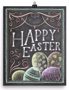 Enjoy this Happy Easter chalkboard art print as a staple in your Easter decorations! A statement in any room. Museum-quality posters made on thick, durable, matte paper. Printed on archival, acid-free