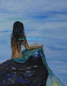 I'm thinking about getting this and doing a beach theme in my living room...the walls are already blue! Mermaid Mermaids Woman Girl Girls Ocean by LeslieAllenFineArt, $15.00
