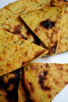 Chickpea Flatbreads -- I've added chives instead of rosemary, as well as a bit of cumin, ginger and cayenne. Turned out amazing, although a bit oily ... But really quite delish