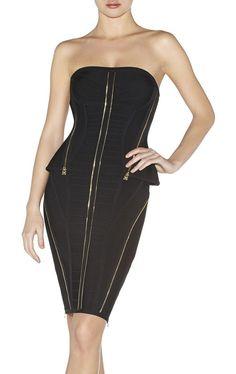 Herve Leger Strapless Xandra Zipper-Detailed Bandage Black Dress