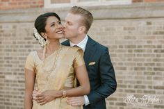Beautiful moment between bride and groom. Interfaith wedding. Enoch Turner Schoolhouse. Toronto.