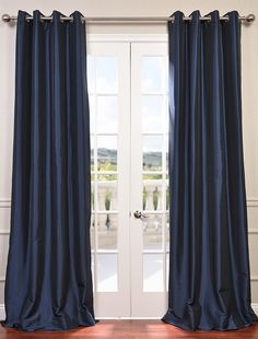 Half Price Drapes Navy Blue 96 x Grommet Blackout Faux Silk Taffeta Curtain Single Panel - Gardinen 108 Inch Curtains, Grommet Curtains, Blackout Curtains, Drapes Curtains, Navy Curtains Bedroom, Modern Curtains, Blackout Panels, Drapery, Blue Curtains Living Room
