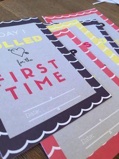 Printable Baby Developmental Milestone Cards by VandaBabyCards