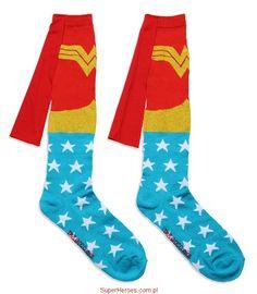 Skarpetki podkolanówki Wonder Woman z pelerynką