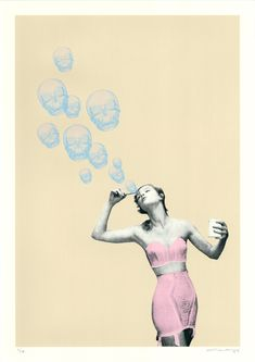Blown Away By Cassandra Yap: Category: Art Currency: GBP Price: Retail Price: 'Blown Away' is a bewitching piece by… Bubble, Blown Away, Annie Sloan, Collage Art, Screen Printing, Contemporary Art, Art Photography, Street Art, Illustration Art