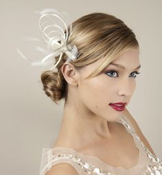 Simple and chic wedding hair barrette with looped feather design Wedding  Fascinators 4b80b7f71f5