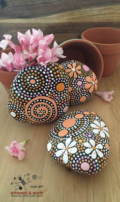 ethereal & earth - otherworldly & of this world creations - creates one-of-a-kind hand painted rock art designed to accent home or garden. yellow shades of orange collection Trio #42 - $29 - shipped FREE in the USA.