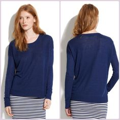 Madewell Navy Linen studio sweater XS In fabulous condition - sorry the lighting I have today is so bad! Measurements coming in just a bit!!   ---  MEASUREMENTS Shoulders:  Chest:  Waist:  Sleeves:  Length:   ---25 Madewell Sweaters Crew & Scoop Necks
