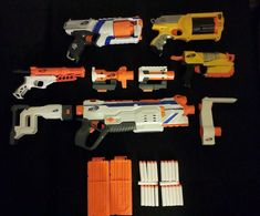 Lot of 5 Nerf Gun SET: Modulus Regulator Blaster Gun,N-Strike Elite Strongarm, Maverick REV6, SwitchShotEX, DoubleDown. 1x Nerf N-Strike DoubleDown Blaster. 1x Nerf N-Strike Elite Strongarm Blaster. 1x Modulus Regulator Blaster Gun with 2 x12 Dart Clips and 22 Darts. | eBay! #nerf #nerfgun #nerfgunset #rival #nerfrival #nerfnstrike #nstrike