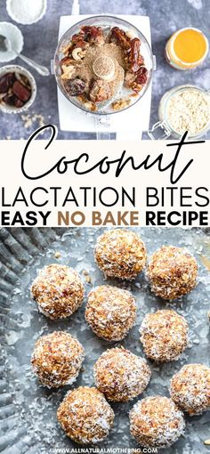 Try this easy and delicious no bake coconut lactation bite recipe to increase your breast milk supply! Full of nutritious milk boosting superfood ingredients, this naturally sweet healthy treat will satisfy your sweet tooth and will also help increase your milk supply as you breastfeed and pump for your baby! #allnaturalmothering #newmom #baby #lactation #breastfeeding #pumping #healthyrecipe #nobakerecipes #healthyrecipes healthytreats