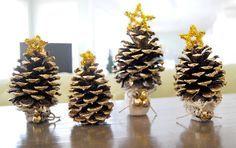 christmas, holiday, christmas tree, tiny, tree, ornament, decor, pinecone, miniature, bells, diy, handmade, homemade