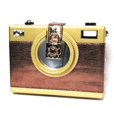 """Tigerstars l $46.00 """"Say Cheese"""" Gold Brown Camera Case"""