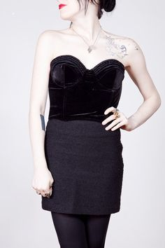 fd8a79e0601 90s black velvet bustier with micromesh back and ruffle detail