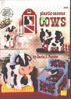 plastic canvas patterns   Plastic Canvas Cows Patterns Bookends Tissue Box Cover Coffee Filter ...