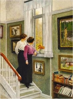 The Artist's Wife And Daughter In The Hall Of Their Villa On Sofievej, Hellerup oil painting by Paul-Gustave Fischer, The highest quality oil painting reproductions and great customer service! Light Painting, Art Vintage, Art Et Illustration, Oil Painting Reproductions, Oeuvre D'art, Les Oeuvres, Modern Art, Art Gallery, Art Boards