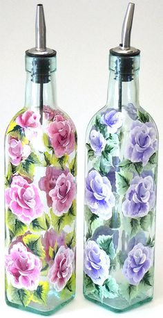 Custom Order Hand Painted Glass Bottles Olive Oil Dispensers Pink Purple Roses Hand Painted Glassware Hand Painted Olive Oil Bottles