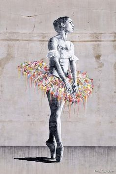 Kate Moss Graffiti Mural In London L-O-V-E art Ballerina, Oslo Banksy Does Origami Graffiti Artwork, Street Art Graffiti, Graffiti Lettering, Graffiti Artists, Art And Illustration, Amazing Street Art, Amazing Art, Awesome, Urbane Kunst