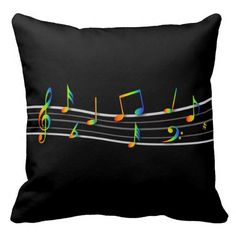 3D Rainbow Musical Notes Score on Black Throw Pillows. A stylish and elegant musical design featuring a musical score with each music note made from the colors of the rainbow with a 3D effect, floating along a white and gray staff on a black background. Ideal for any musician or music lover.