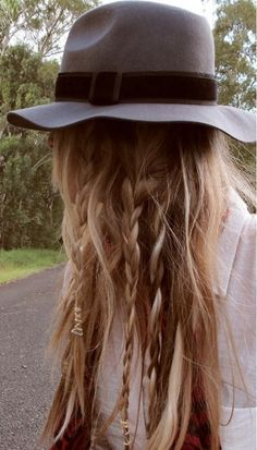 Amanda Shadforth from oraclefox.com wiith boho braids. hat, shirt, scarf: Bardot. http://lookbook.nu/look/1697799-Bardot-Blouse-Floral-Print-Opening-Ceremony #Hair #Braids
