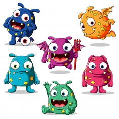 Set of cute monsters character illustration Cute Monsters Drawings, Funny Monsters, Cartoon Monsters, Cute Drawings, Monster Font, Doodle Monster, Monster Drawing, Alien Character, Funny Character