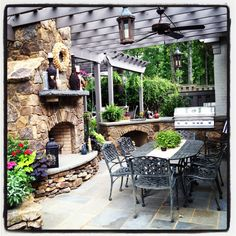 Outdoor Stone Fireplace and Grill