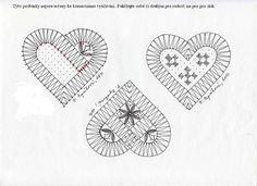 Paličkománie: Corazón con Pudica estenopeica Hairpin Lace Crochet, Crochet Motif, Crochet Shawl, Crochet Edgings, Bobbin Lace Patterns, Bead Loom Patterns, Lace Earrings, Lace Jewelry, Bruges Lace